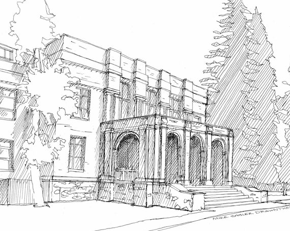 BEND HIGH SCHOOL - Bend Oregon, Historic, Downtown, Architecture, Drawing, Pen and Ink, Sketchbook, Art, Print, Plein Air, Drawn There