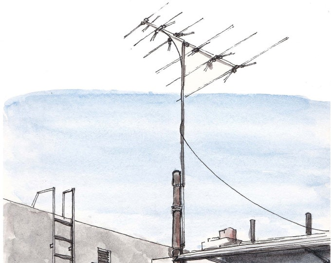 TV ANTENNA ROOFTOP - Architecture, Fire Escape, Roofscape, Pen and Ink, Art, Watercolor, Painting, Drawing, Sketchbook, Drawn There
