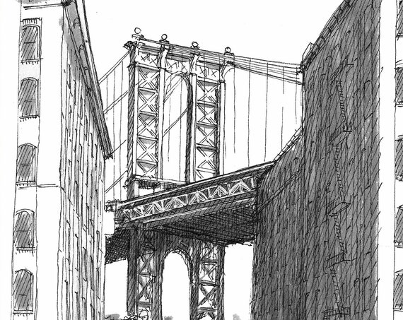 BROOKLYN DUMBO BRIDGE - Manhattan Bridge, New York City, Pen and Ink Drawing, Architecture, Urbansketcher, Sketchbook, Art, Drawn There