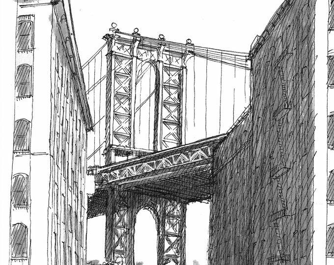 BROOKLYN DUMBO BRIDGE - Manhattan Bridge, New York City, Pen and Ink Drawing, Architecture, Urbansketcher, Sketchbook, Art, Drawn There
