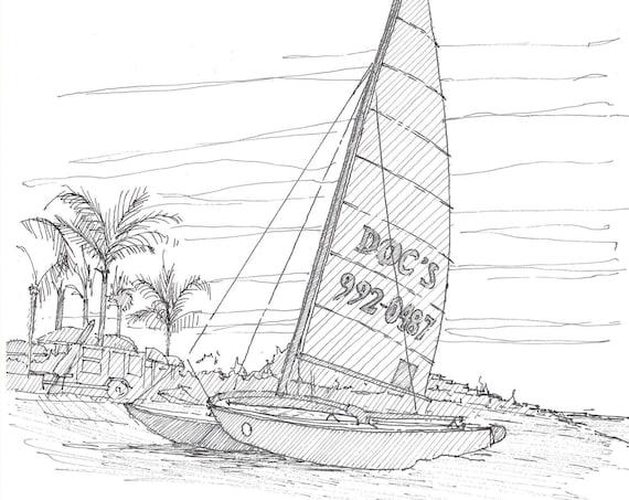 CATAMARAN SAILBOAT on beach in Florida - Pen and Ink, Drawing, Art, Sketchbook, Sailing, Beach, Ocean, Drawn There