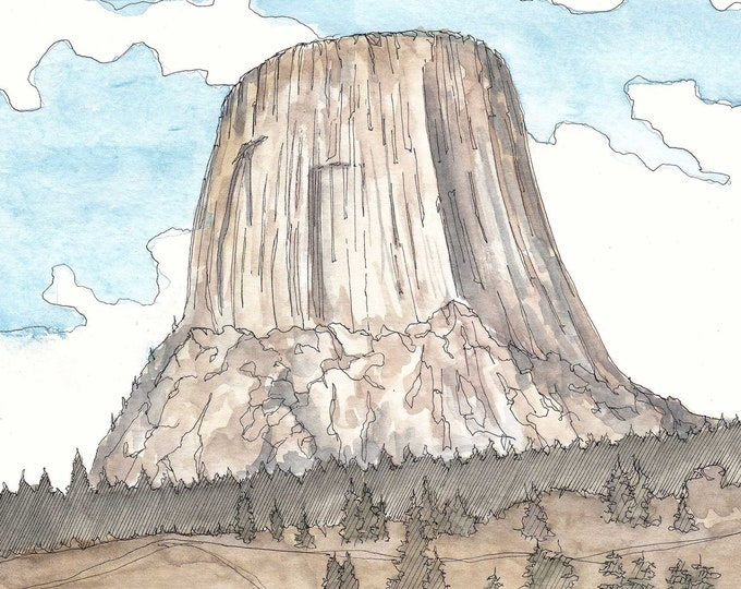 DEVILS TOWER WINDOW, Wyoming, National Monument, Rock Climbing, Drawing, Pen and Ink, Watercolor, Painting, Sketchbook, Art, Drawn There