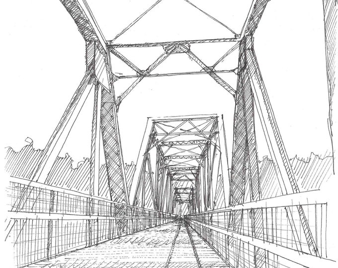 STEEL BRIDGE over Broad River on Palmetto Trail, Columbia, South Carolina - Pen and Ink, Drawing, Art, Engineering, Sketchbook, Drawn There