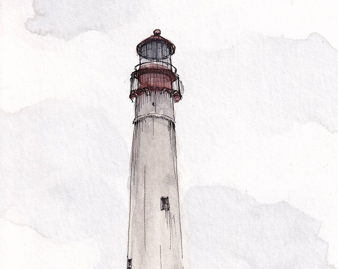 CAPE MAY LIGHTHOUSE - Architecture, Beach, Ocean, New Jersey, Drawing, Plein Air Watercolor Painting, Sketchbook, Art, Drawn There