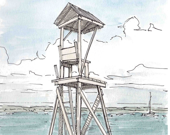 SMALL LIFEGUARD STAND - Beach, Ocean, Water, Swim, Watercolor, Painting, Pen and Ink, Drawing, Sketchbook, Art, Drawn There