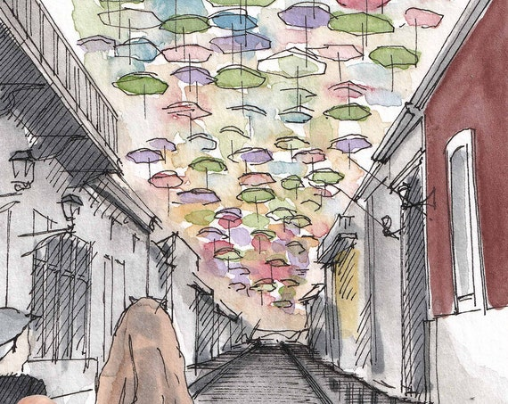 SAN JUAN PR - Fortaleza Street Umbrellas, Puerto Rico, Old Town, Cobblestone, Ink and Watercolor Painting, Urbansketcher, Art, Drawn There