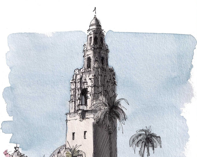 CALIFORNIA TOWER 2021 - Balboa Park, Museum of Man, San Diego, Architecture, Art, Watercolor, Painting, Drawing, Sketchbook, Drawn There