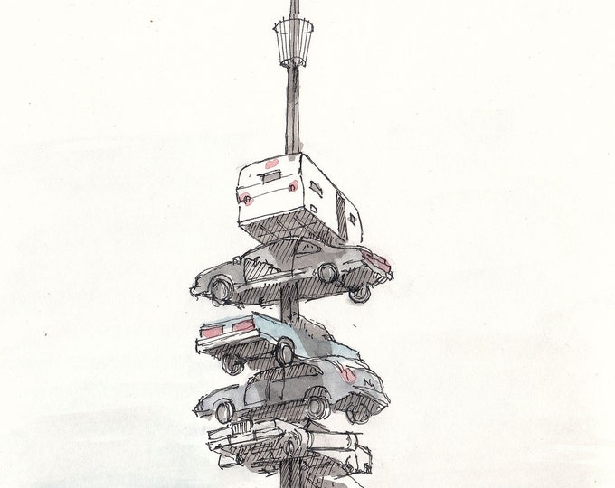 BLACK ROCK CITY - Stacked Cars, Sculpture, Climb, Vehicles, Ink and Watercolor, Painting, Sketchbook, Art, Print, Drawing, Drawn There