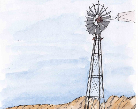 WINDMILL at ORGAN MOUNTAINS, New Mexico - Ranch, Cattle, Water well, Mountains, Drawing, Watercolor Painting, Sketchbook, Art, Drawn There