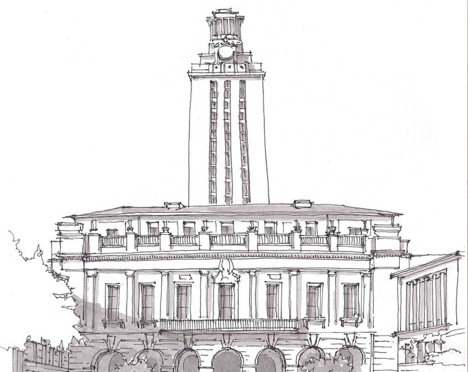 UNIVERSITY of TEXAS TOWER - Austin, Campus, College, Classical Architecture, Square, Pen and Ink, Sketchbook, Art, Drawn There
