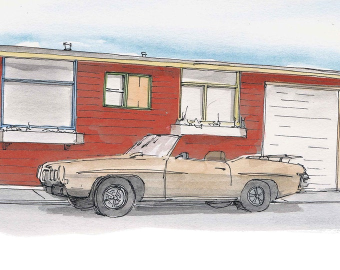 PONTIAC GTO - Classic Car, Vintage, Drawing, Pen and Ink, Watercolor, Painting, Convertible, Sketch, Sketchbook, Art, Drawn There
