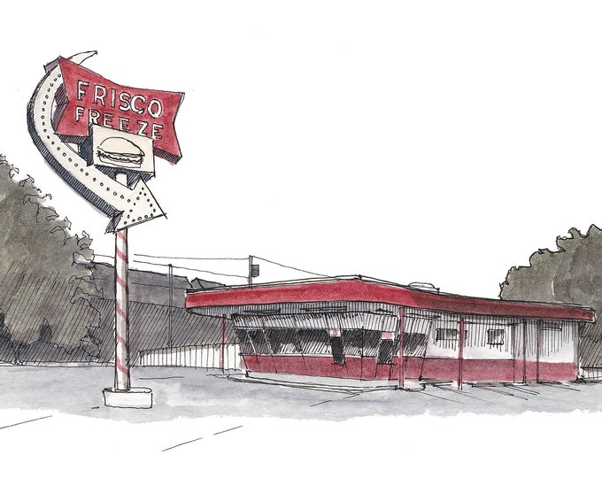 FRISKO FREEZE Burger Stand in Tacoma, Washington -  Retro, Fast Food, Drive Thru, Pen and Ink,  Drawing, Watercolor, Painting, Drawn There