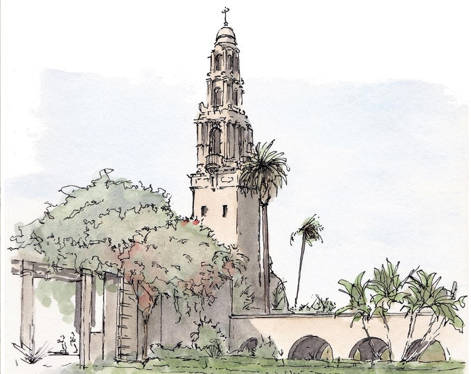 CALIFORNIA TOWER - Balboa Park, Museum of Man, San Diego, Architecture, Art, Watercolor, Painting, Drawing, Sketchbook, Drawn There