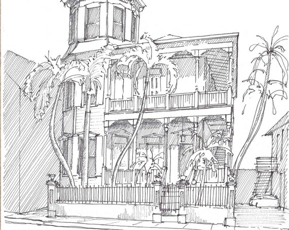 ARTIST HOUSE HOTEL Key West, Florida - Architecture, Queen Anne, Pen and Ink, Drawing, Sketchbook, Art Print, Line Drawing, Drawn There