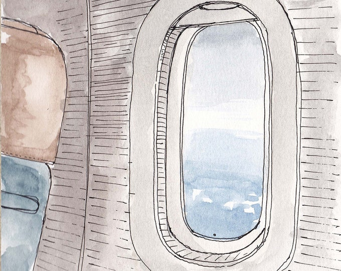 AIRPLANE WINDOW - Travel, Commercial Airline, Clouds, Blue Sky, Drawing, Watercolor Painting, Sketchbook, Art, Drawn There