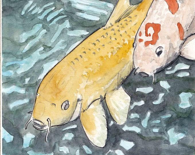 KOI FISH - Japan, Carp, Goldfish, Koi Pond, Japanese Garden, Drawing, Watercolor Painting, Sketchbook, Art Print, Drawn There