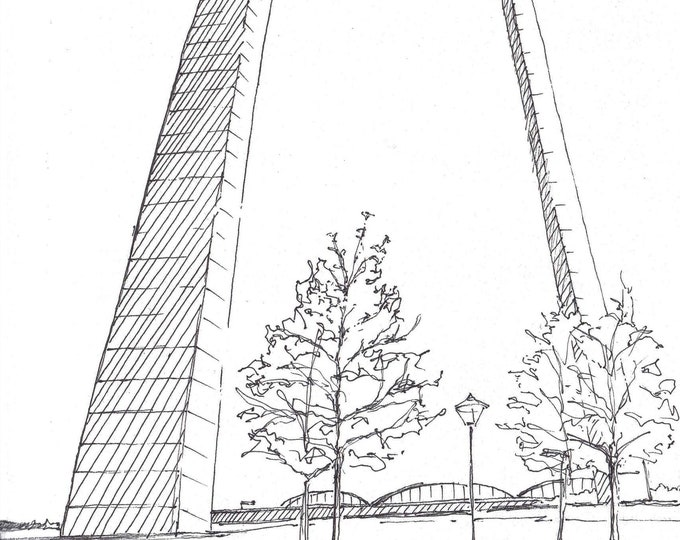 ST LOUIS ARCH in St. Louis, Missouri - Public Art, National Park, Drawing, Art, Architecture, Monument, Art Print, Drawn There