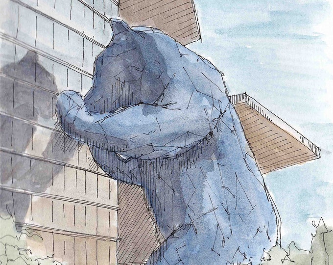 BIG BLUE BEAR - Denver, Colorado, I See What You Mean, Convention Center, Public Art, Drawing, Watercolor, Painting, Sketchbook, Drawn There