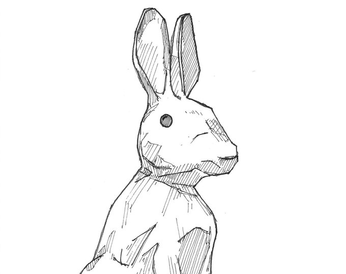 RABBIT SITTING - Bunny, Sculpture, Easter, Easter Eggs, Spring, Ears, Pen and Ink Sketchbook Drawing, Art Print, Drawn There