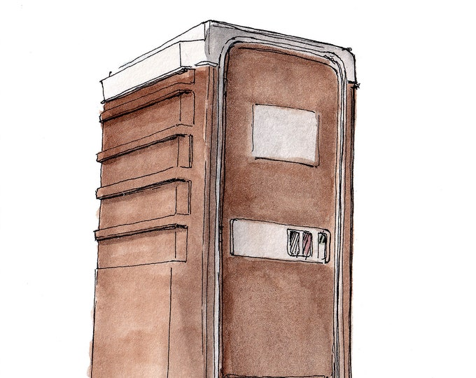 PORTA POTTY - Porto John, Portable Restroom, Toilet, Outhouse, Drawing, Watercolor Painting, Sketchbook, Art, Print, Drawn There