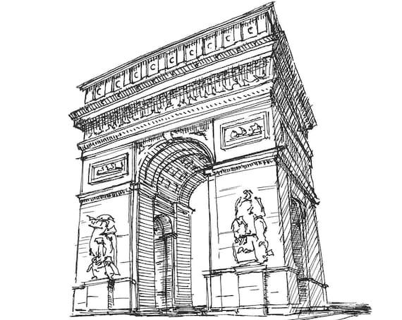 ARC DE TRIOMPHE - Arch, Paris, France, Las Vegas, Architecture, Sketchbook, Art, Drawing, Pen and Ink, Urbansketcher, Art, Drawn There