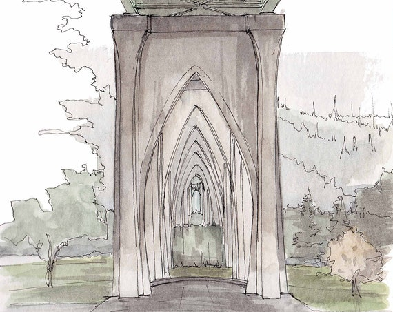 CATHEDRAL PARK - St. John Bridge, Portland, Oregon, Ink and Watercolor, Drawing, Painting, Sketchbook, Art Print, Architecture, Drawn There