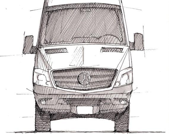 SPRINTER CAMPER VAN - Pen and Ink, Drawing, Sketch, Art Print, Vanlife, Camping, Roadtrip, Van.There, Mercedes Sprinter, Drawn There