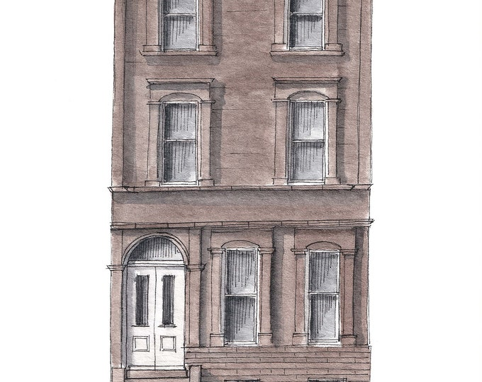 PHILADELPHIA 4 STORY ROWHOME  - Row House, Spring Garden, Brownstone, Architecture, Drawing, Painting, Ink and Watercolor, Art, Drawn There