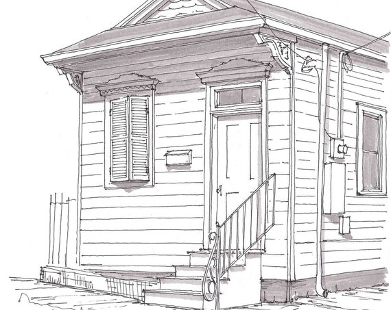 SHOTGUN HOUSE - New Orleans, Louisiana, Tiny House, Architecture, Southern, Pen and Ink, Drawing, Sketchbook, Art, Drawn There