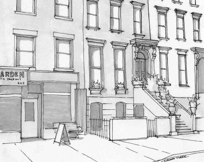 BROOKLYN BROWNSTONE APARTMENT - Streetscape, New York, Building, Architecture, Pen and Ink, Drawing, Art Print, Sketchbook, Drawn There