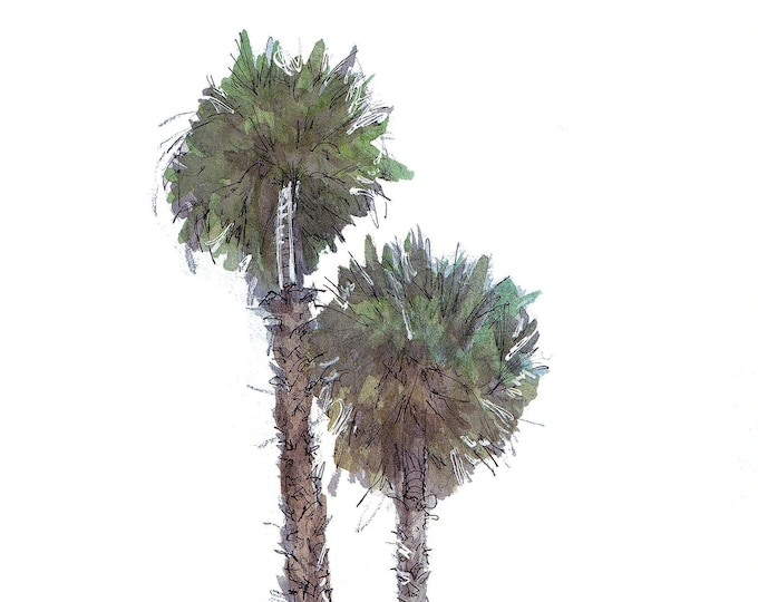 PALM TREES - Trees, Plants, Southern California, SoCal, Drawing, Watercolor Painting, Sketchbook, Art, Print, Drawn There