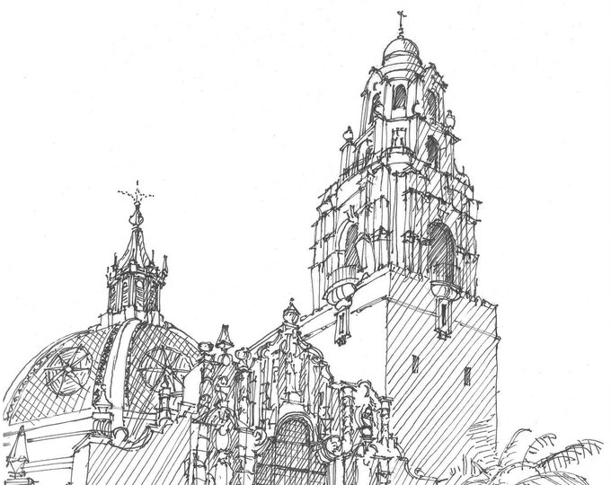 CALIFORNIA TOWER - Balboa Park, San Diego, California, Drawing, Pen and Ink, Sketchbook, Art, Architecture, Drawn There