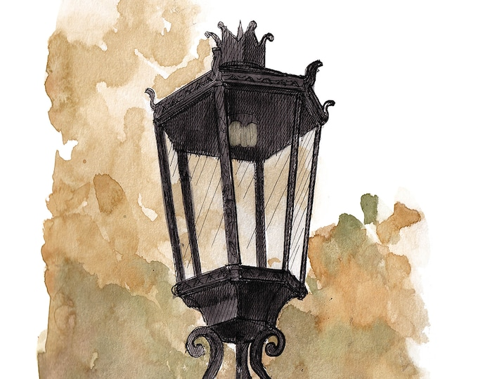 WELLSBORO GAS STREETLAMP - Light, Wrought Iron, Drawing, Ink and Watercolor Painting, Sketchbook, Plein Air, Urbansketcher, Art, Drawn There