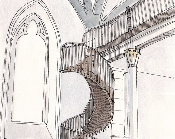 MIRACULOUS STAIRCASE in Loretto Chapel, Santa Fe, New Mexico -  Architecture, Watercolor, Painting, Sketchbook, Art, Drawn There