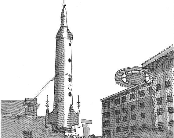 FREMONT ROCKET in Seattle, Washington - Sculpture, Quirky, Center of the Universe, Space, Drawing, Pen and Ink, Sketchbook, Art, Drawn There