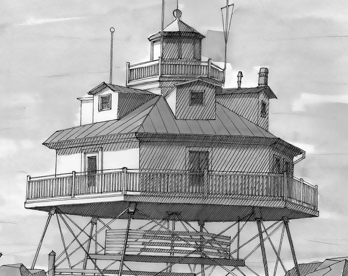 THOMAS POINT LIGHTHOUSE - Chesapeake Bay, Maryland, East Coast, Ink, Drawing, Sketchbook, Art, Drawn There