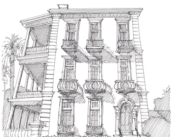 BATTERY HOUSE in CHARLESTON South Carolina - Pen and Ink, Drawing, Art, Sketchbook, Print, Historic Architecture, Drawn There