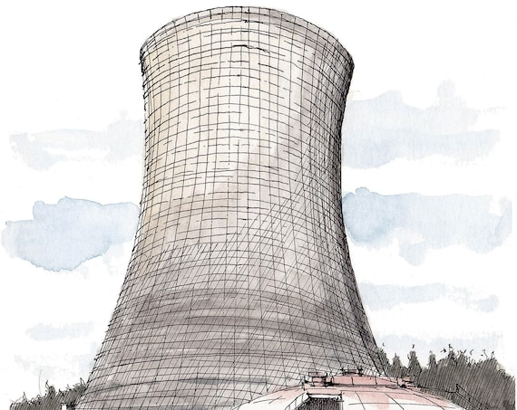SATSOP NUCLEAR Power Plant - Washington, Cooling Tower, Abandoned, Energy, Ink, Drawing, Watercolor, Painting, Sketchbook, Art, Drawn There