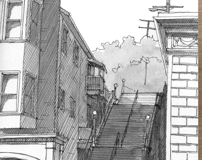 SAUSALITO STAIRCASE STAIRS - Bridgeway, Urbansketcher Architecture, Plein Air Pen and Ink Drawing, Painting, Giclee Print, Art, Drawn There
