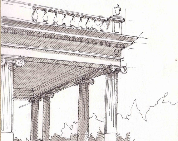 CLASSICAL GREEK COLUMNS at Montalvo Arts Center in San Jose - Architecture, Pen and Ink, Perspective, Drawing, Sketchbook, Art, Drawn There