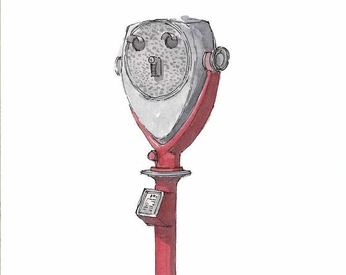 TOWER OPTICAL BINOCULARS - Coin Op, Zoom, Tourist Attraction, Drawing, Watercolor Painting, Sketchbook, Art, Drawn There