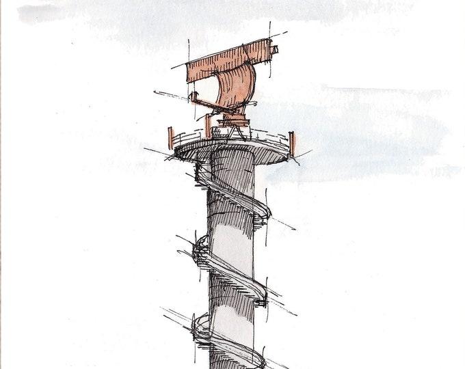 AIRPORT RADAR TOWER - Navigation, Air Traffic Control, Drawing, Watercolor Painting, Sketchbook, Art, Drawn There