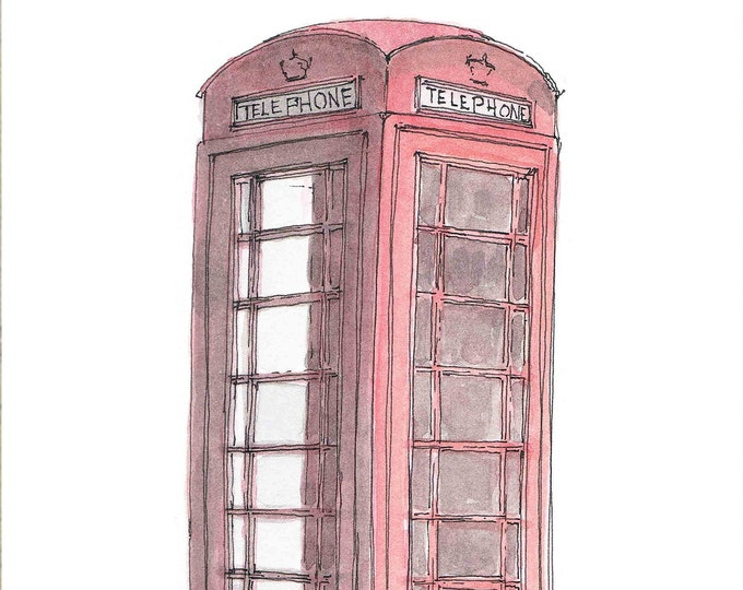 BRITISH PHONE BOX - Watercolor Painting, Telephone, Phone Booth, Art, Ink Drawing, Sketch, Watercolor, Art, Pen and Ink, Drawn There