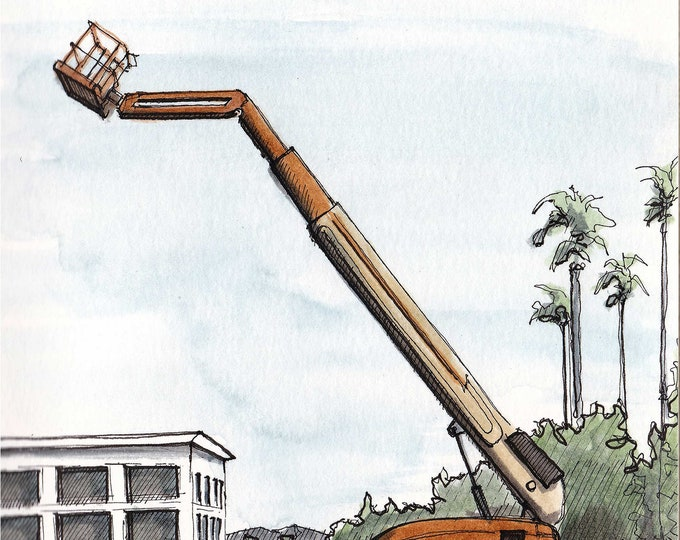 CHERRY PICKER - Lift, Boom, Construction Equipment, Drawing, Ink and Watercolor, Watercolor Painting, Sketchbook, Art, Drawn There