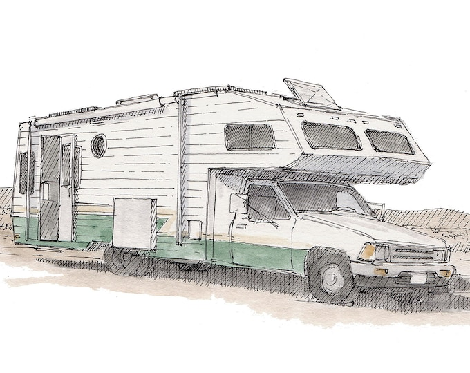 TOYOTA CAMPER RV - Slowcarfasthome, Roadtrip, Vanlife, Watercolor Painting, Drawing, Sketchbook, Art, Drawn There