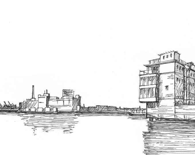 DOMINO SUGAR FACTORY - Baltimore, Maryland, Inner Harbor, Pier Homes, Architecture, Drawing, Pen and Ink, Sketchbook, Art, Drawn There