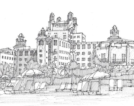 DON CESAR HOTEL - Saint Petersburg, Florida, Beach Resort, Pen and Ink Drawing, Sketchbook, Art Print, Plein Air, Drawn There
