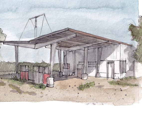 ROUTE 66 GAS STATION, Santa Rosa, New Mexico - Roadside America, Architecture, Road Trip, Watercolor Painting, Drawing, Art, Drawn There
