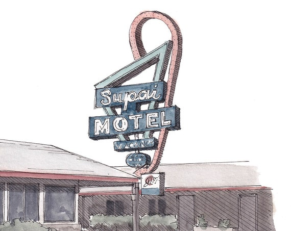 ROUTE 66 MOTEL SIGN - Seligman, Arizona, Southwest, Architecture, Design, Neon, Watercolor Painting, Drawing, Sketchbook, Art, Drawn There