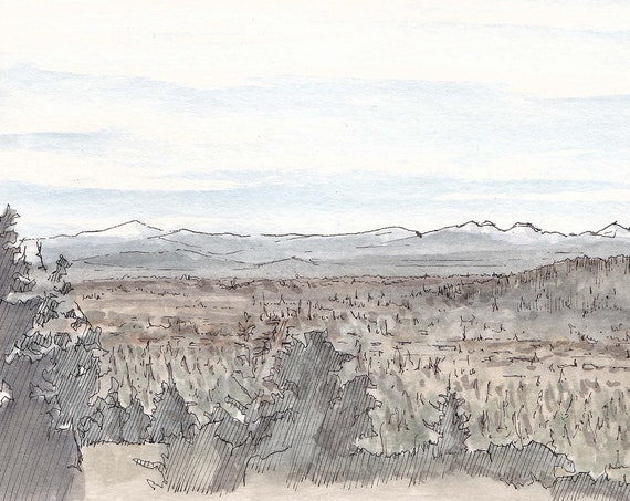 BEND OREGON from Pilot Butte - Overlook, Landscape Painting, Sketchbook, Ink and Watercolor, Mountains, Drawn There